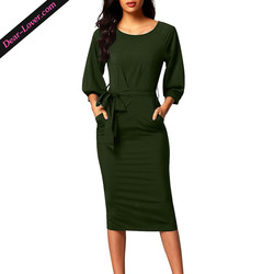 Army Green Puff Sleeve Belt Chiffon Dresses Women Elegant
