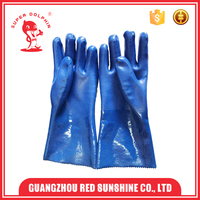Sandy Finished PVC Gloves Chemical Resistant PVC Coated Working Gloves