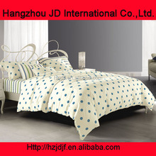 pure cotton white colours small blue dots prints 4pieces photo wedding bedsheet home cover duvets