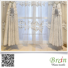embroidery silk dupion curtain blue