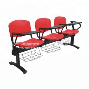 3 Seats Upholsted Plastic Classroom Chairs With Tablets Arm