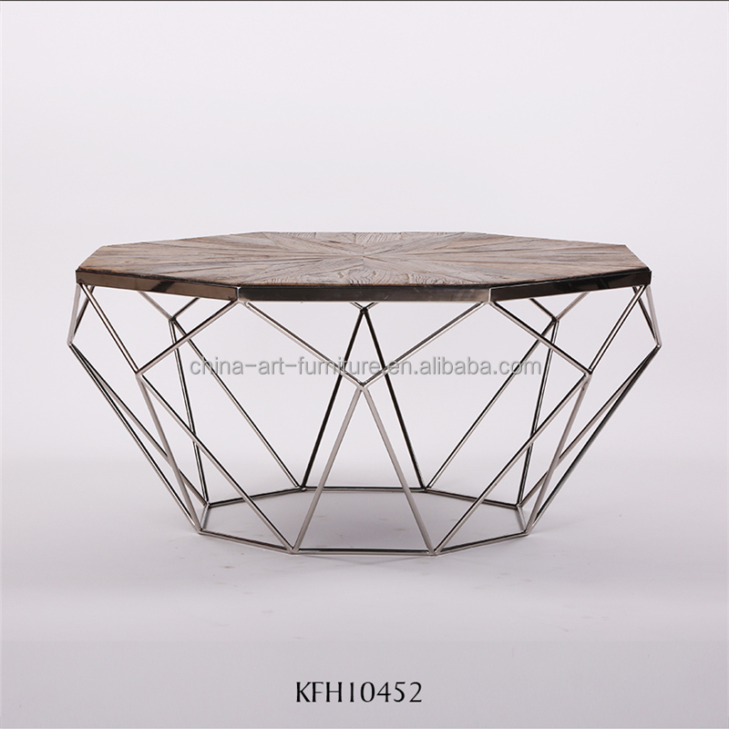 Pattern making wood top coffee <strong>table</strong> with metal base, new design diamond shape, <strong>antique</strong> living room <strong>tables</strong>