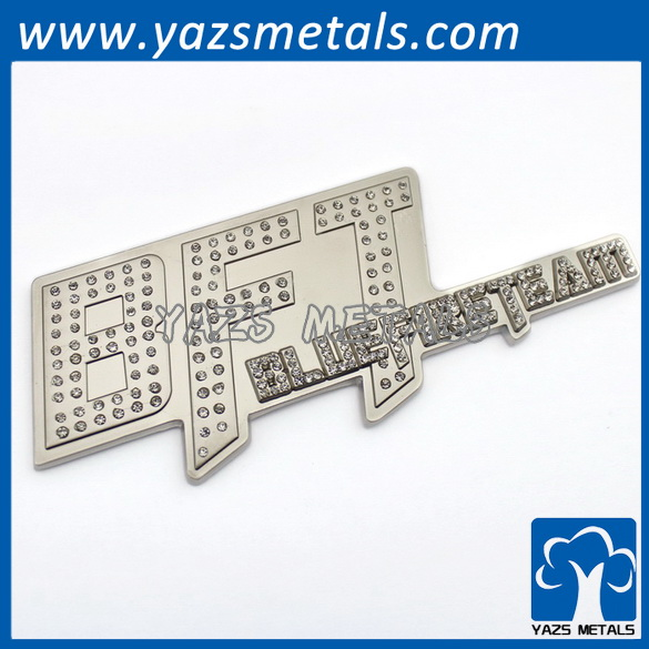 factory custom cheap rhinestone letters plate