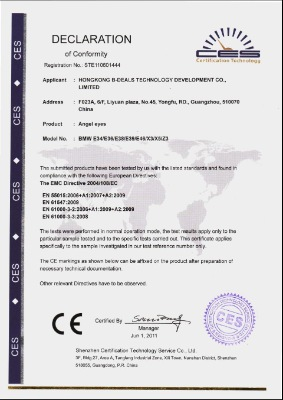 CE Certifications of  CCFL angel eyes