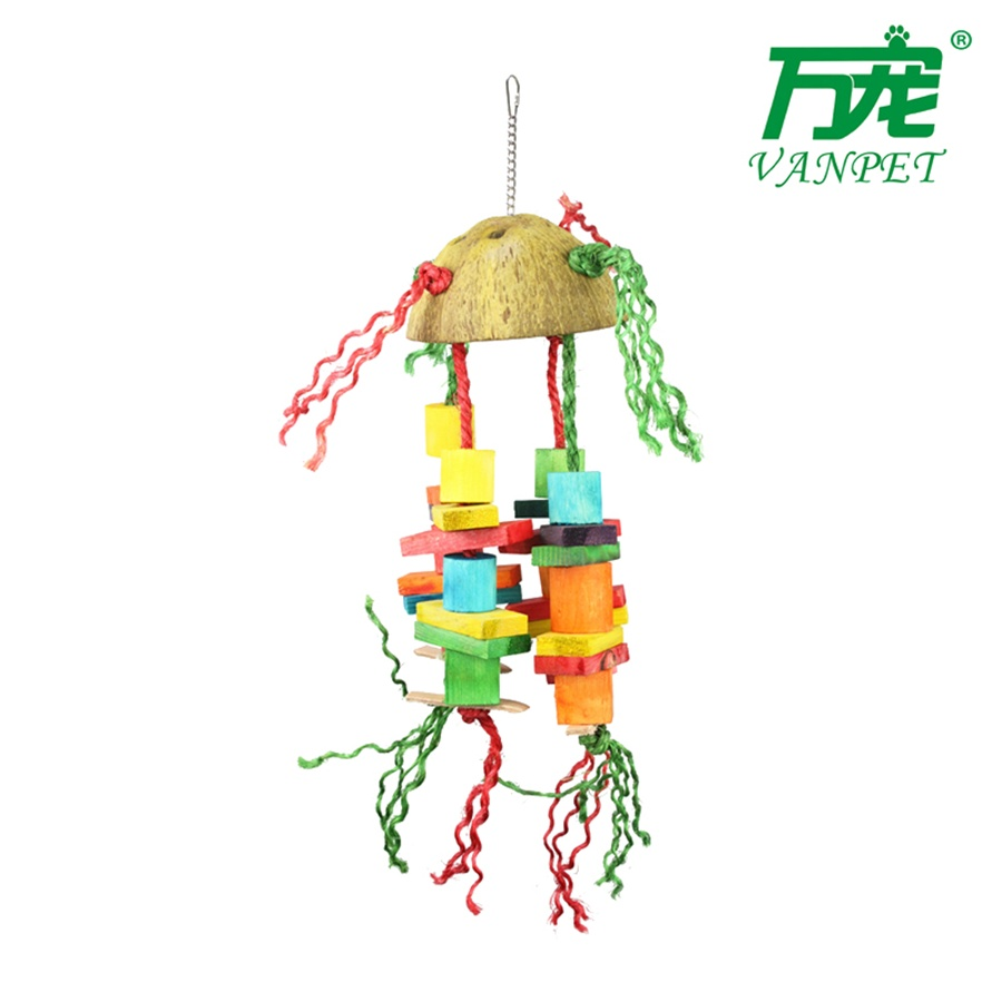 coconut and wooden toy for birds