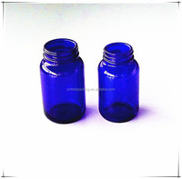blue pharmaceutical glass bottle