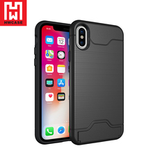 Tpu pc 2 in 1 phone case kickstand credit card cases covers for iphone x card holder case