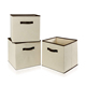 multi-function folding non woven organizer rectangle storage box with lid handle