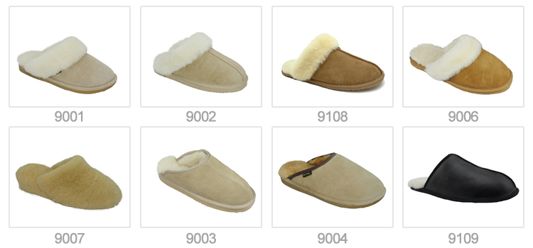 Ladies anti slip sheepskin leather indoor slipper