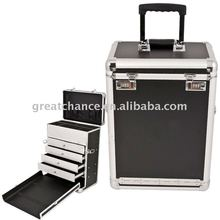 Pro Makeup Jewelry with Drawers Rolling Case Aluminum