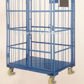 Foldable 4 doors metal powder coating roll container trolley with high quality