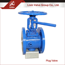 Medium pressure WCB CF8 CF8M jacket plug valve with flange connection