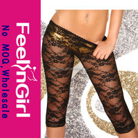 New modern sexy see through lace knee length leggings