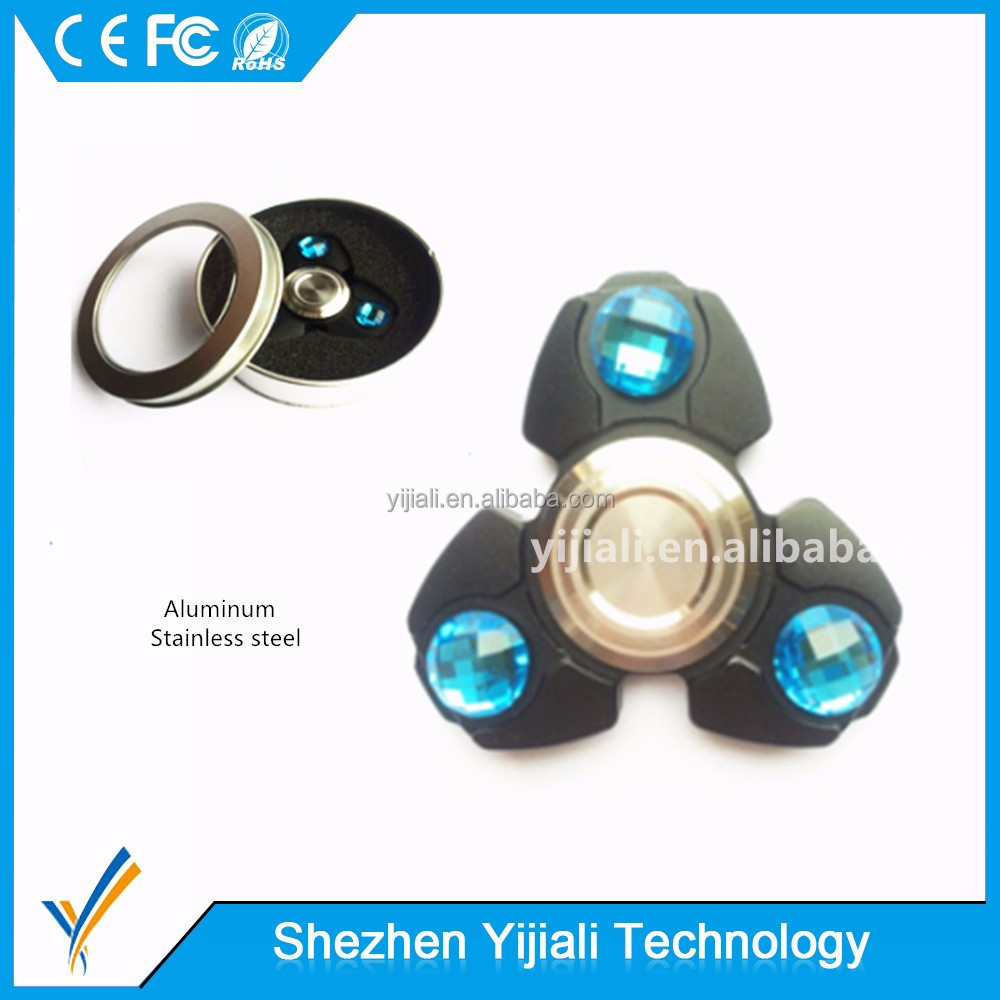 Ceramic bearing alu 3 Bar minum alloy fidget spinner with precious stone