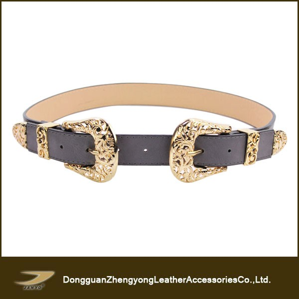Latest popular fashion women vintage double buckle belt