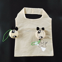 factory logo custom 190t dog animal eco reusable recycled foldable polyester promotional supermarket shopping gift tote bag