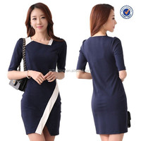 Patchwork square collar half sleeve slimming dress ladies office wear dresses dress