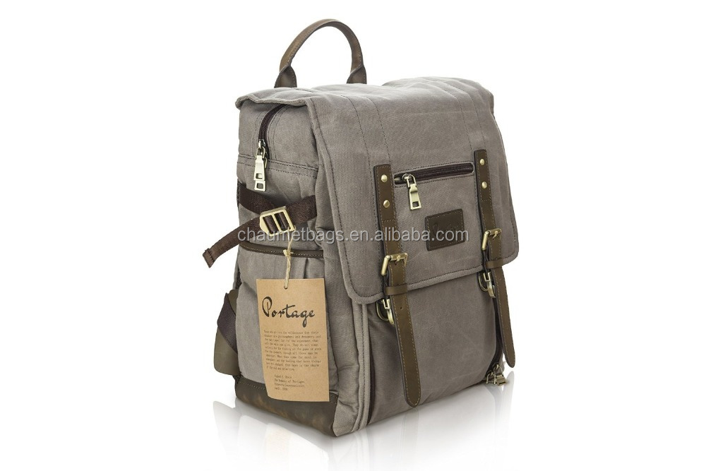 Portage Waxed Canvas with Genuine Leather Camera Laptop Backpack