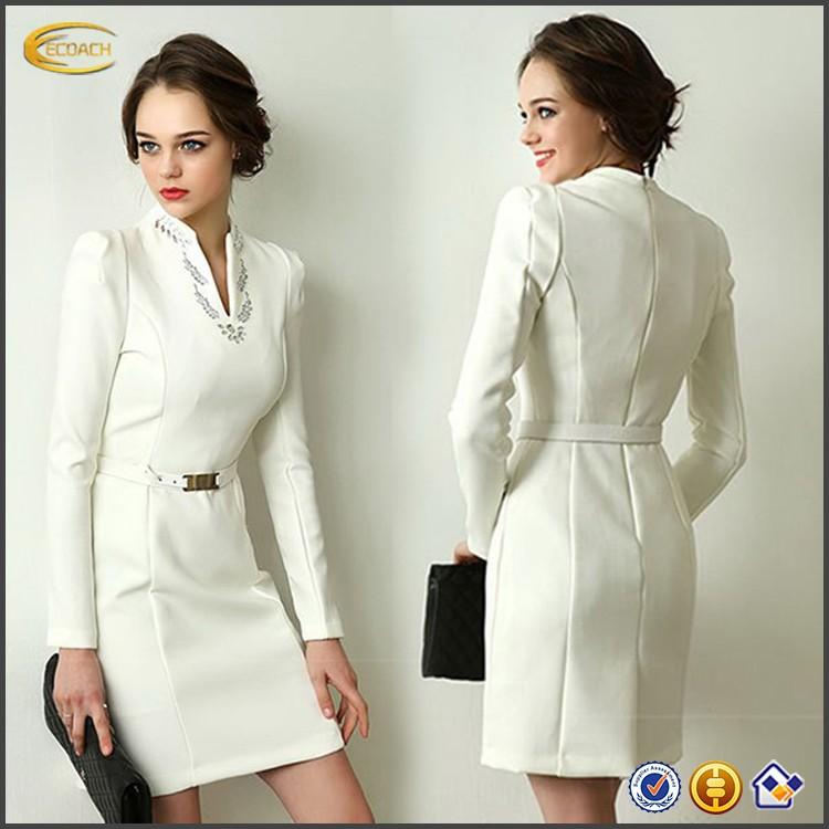 Latest Office Wear Designs V Neck Long Sleeve Formal Straight Dress Ladies Office Dresses 2014