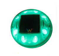 Round design plastic LED solar road stud green color reflector road