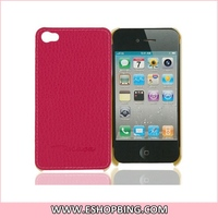 Artificial Leather Coated Hard Plastic Cover Case for iphone 4G