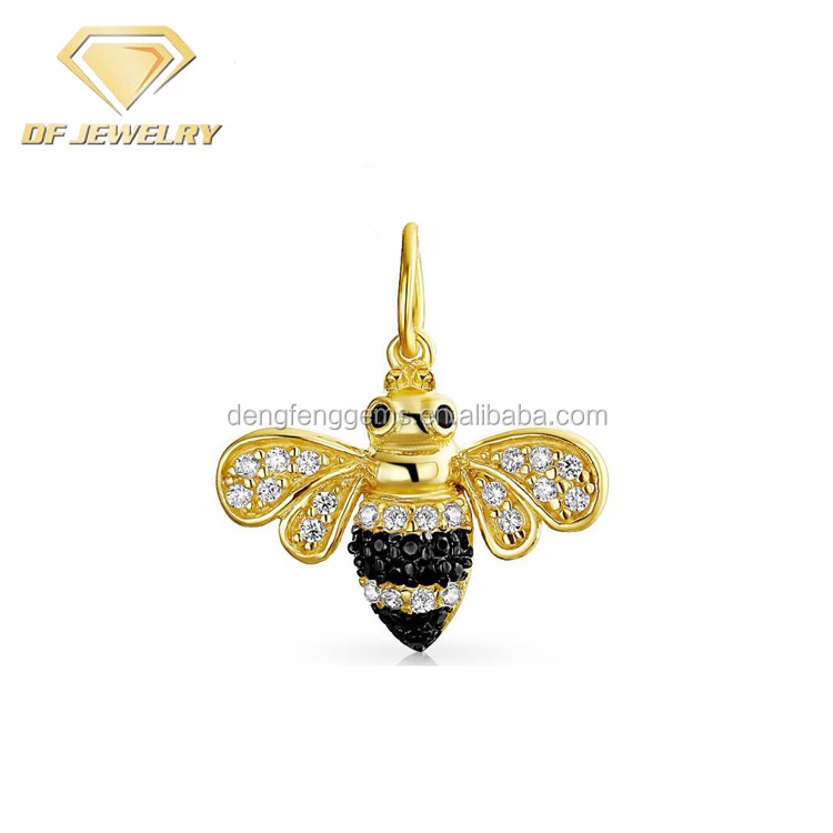 Gold Plated 925 Silver CZ Bumble Bee Pendant Necklace
