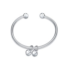 New silver fashion two small bell bangle