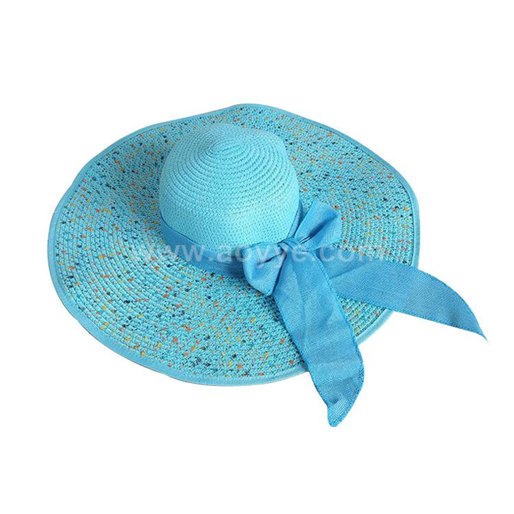 Wholesale Custom Women Floppy Hat Wide Large Brim Foldable Sombrero Girl Summer Beach Wave Point Dome Sun Straw Hat Wholesale