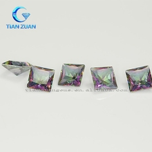 Jewelry making rainbow colour glass stones,square shape synthetic glass stones