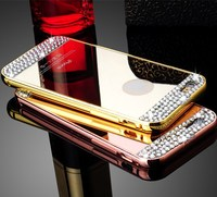 For iphone 5 fashion crystal clear mirro case aluminum+acrylic metal bumper mobile phone cover mirror view case for iphone 5