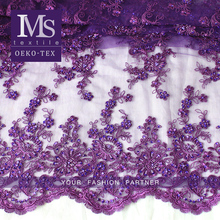 High Quality Bridal Lace Fabric wholesale African elegant purple beads dress lace fabric