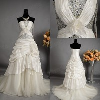 Taffeta Vestidos De Novia Queen Beaded Ball Gown Wedding Dress 2014 Under 100
