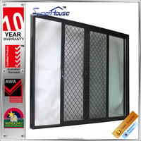 AS2047 Australia standarddouble tempered glass aluminium outside door with security mesh