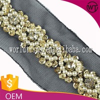 Customized pearl and rhinestone beaded trimming, sequin mesh lace trim for decorative garment