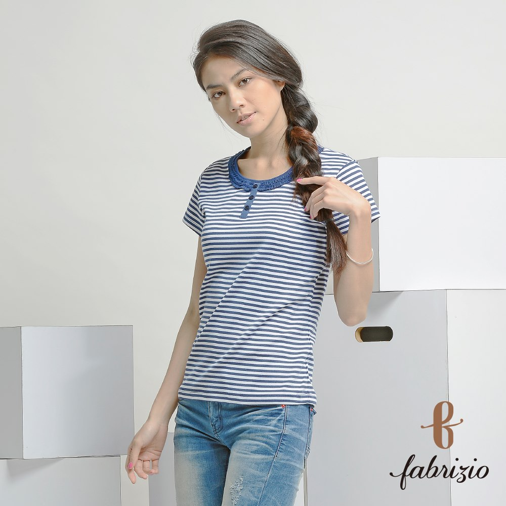 High Quality Professional Women Stripe Tops short Sleeve T-shirts Crew Neckline T-shirts Apparel for Women