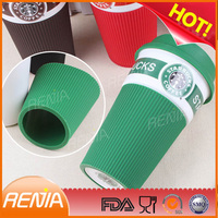 custom reusable silicone coffee cup sleeve