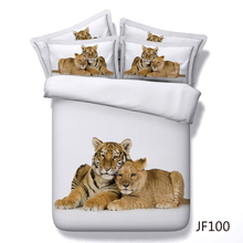 3d Lion and Tiger baby cubs on white background HD digital bed set
