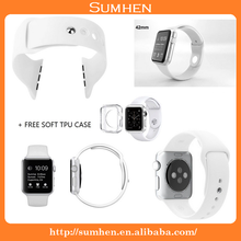 High-end black and white silicone sports watches with for Apple Watch Sport 38mm 42mm
