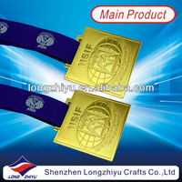 Gold, silver & bronze challenge medal with neck ribbon drape