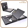 Top-quality traveller Business genuine leather cover for ipad case with notebook enough pockets zip around Multi-Function cover