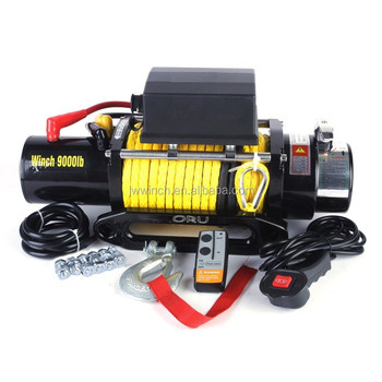 12v 9000lb electric winch with plasma rope for utility winch