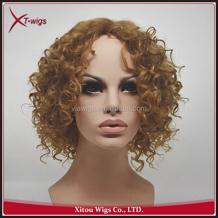 Charming Short Blonde Synthetic Curly Wigs For White Women