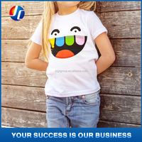 Smile printed cute young girls &boys white t-shirts child t-shirt models