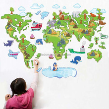 New Arrival Decorative Bedroom Plastic Wall Sticker World Map