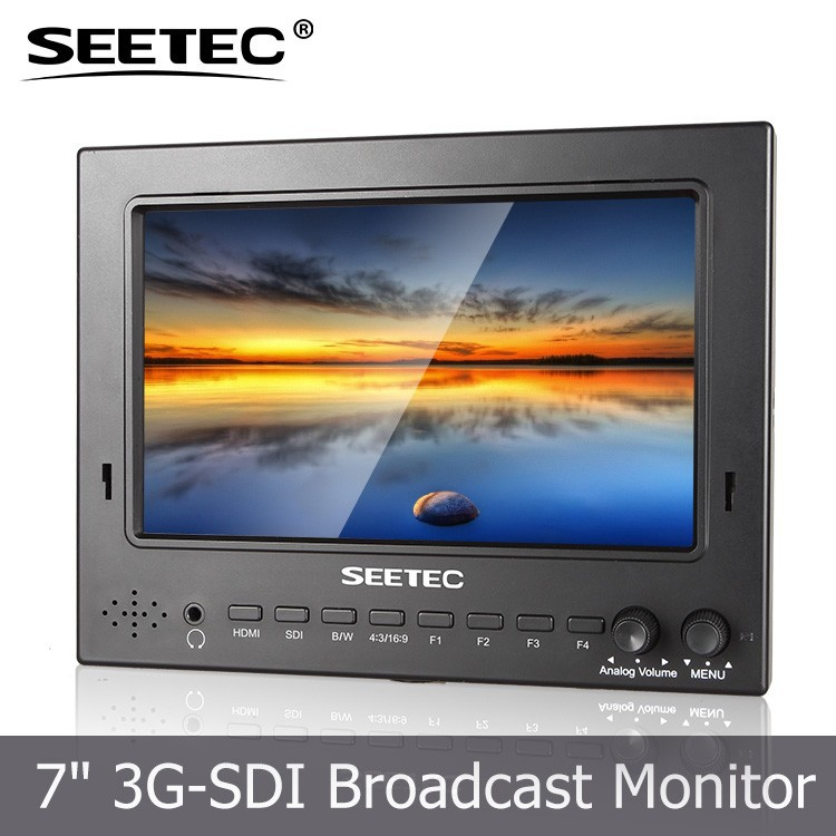 Professional On Camera 7 Inch HDMI SDI display 1024x600 Peaking Filter 12 volt dc lcd monitor