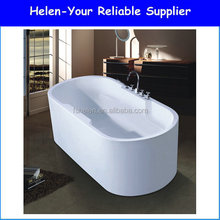 High Grade Freestanding Oval Acrylic Modern Solid Surface White Bathtub In Bathroom Made In Foshan NO.7013