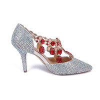 Celebrity shoes top one shoes hand beaded sandals crystal wedding high heel shoes red diamond