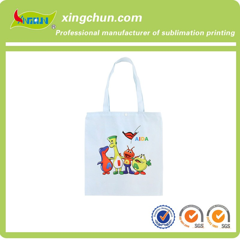 Wholesale Factory Price Custom Logo Heat Transfer Printed Canvas Tote Shopping Bag