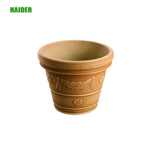 New yellow color plastic flower planter pots with different flower shape ornamented