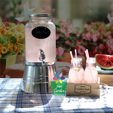 Wholesale cold mason jar drink can glass beverage dispenser with spigot